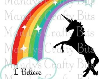 SVG I Believe Unicorn and Rainbow