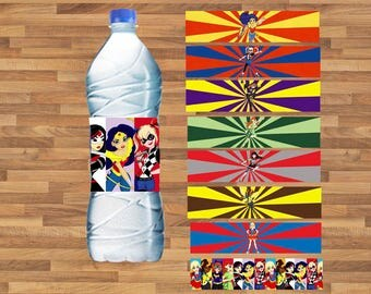 DC Super Hero Girls Water Bottle Label instant download, Printable DC Super Hero Girls Water Bottle Label, Super Hero Girls Water Label