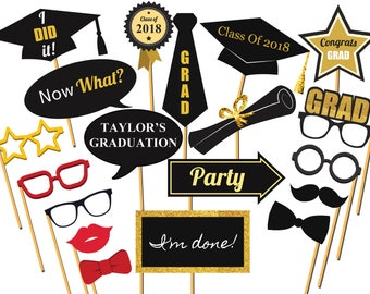 Personalized Graduation photo booth prop, Class of 2018, Graduation Party, Congrats grad, graduation prop, High School, photo props ;100205