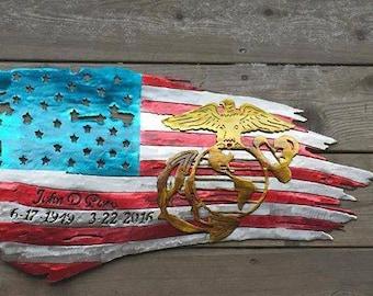 Marine Corps Memorial Tattered American Flag Metal Artwork