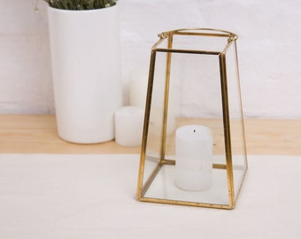 Geometric Glass Terrarium, Hurricane Lantern, Wedding Candle Holder, Holiday Lights, Holiday Gifts, Rustic Candle Holder Centerpiece