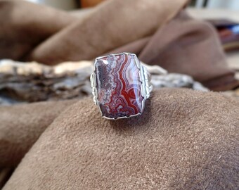 Stunning Laguna Lace Agate Ring 1248