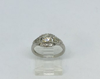 Platinum Art Deco .48ct twt Diamond Engagement Ring