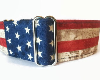 Martingale Dog Collar Rustic American Flag // Dog Lover Gift // Dog Accessories // Greyhound Collar // Sighthound Collar