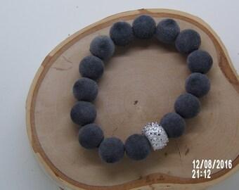 B1215 Suede like Beaded Bracelet