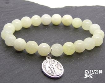 B1232 White Glass Beaded Bracelet with Guardian Angel Charm