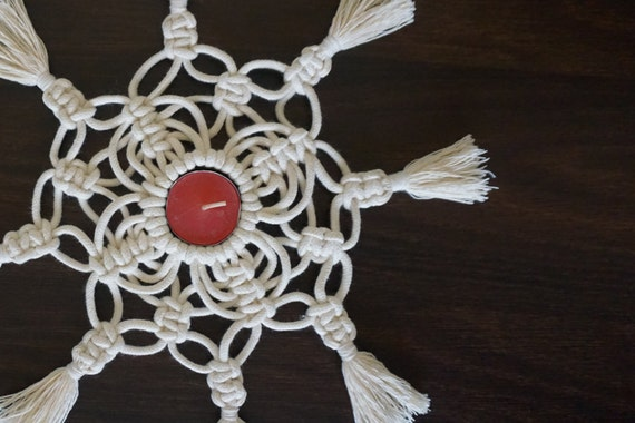 Macrame Tea Light Holder, Macrame Table Centerpiece, Tea Light Holder for Boho Home Decor and Wedding Decor, Housewarming and Wedding Gift