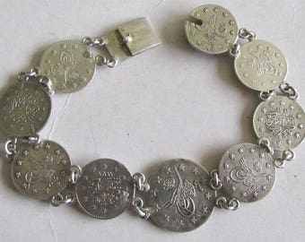 Rare Antique Ottoman/Turkey Silver Handmade Ladies Bracelet with coins