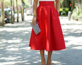Red skirt high waist and full skirt with pockets vintage