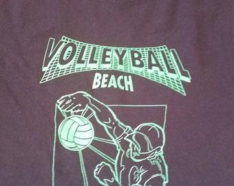 Volleyball Beach Kansas City, Missouri Vintage T-shirt Martin City Medium Hanes Comfortblend Black Lime Green Neon Graphic