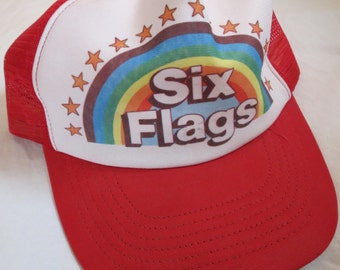 Vintage Six Flags Amusement Theme Park Souvenir Trucker Hat Cap Red Rainbow Stars Made in the USA Adjust-a-Tab Large-Extra Large