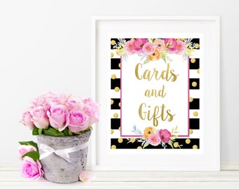 Cards and Gifts Sign - Baby Shower Decorations - Pink and Gold Floral Party Decorations - Baby Shower Printable Party Sign - Floral Print