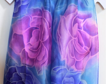 Hand painted floral silk scarf, roses in shades of pink, blue and lilac, OOAK, original design, gift for her, handmade item in batik style