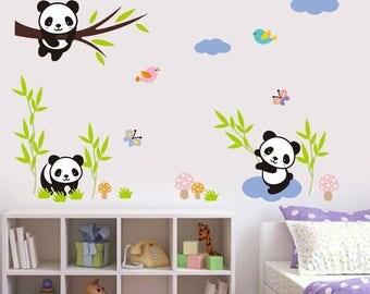 Pandas Wall Decal For Kids, Panda Wall Sticker, Panda Vinyl Wall Decal, Nursery Wall Decal, Kids Wall Decor, Panda Nursery Wall Sticker