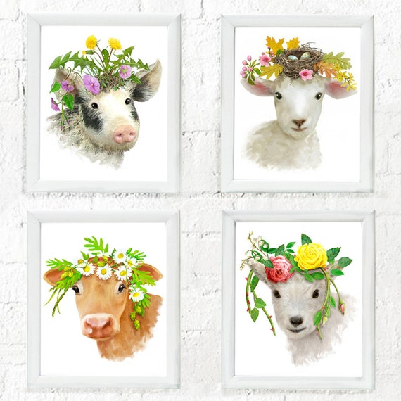Set of 4 baby farm animals with flowered headpieces, nursery art, nursery decor, baby farm animal art, kids decor, art for children's walls.