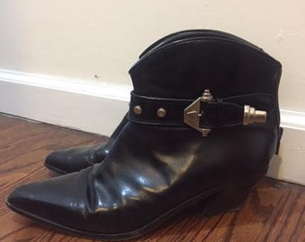 VIA SPIGA Italian Leather Rocker Ankle Boots Size 8  Studded Bowie Look