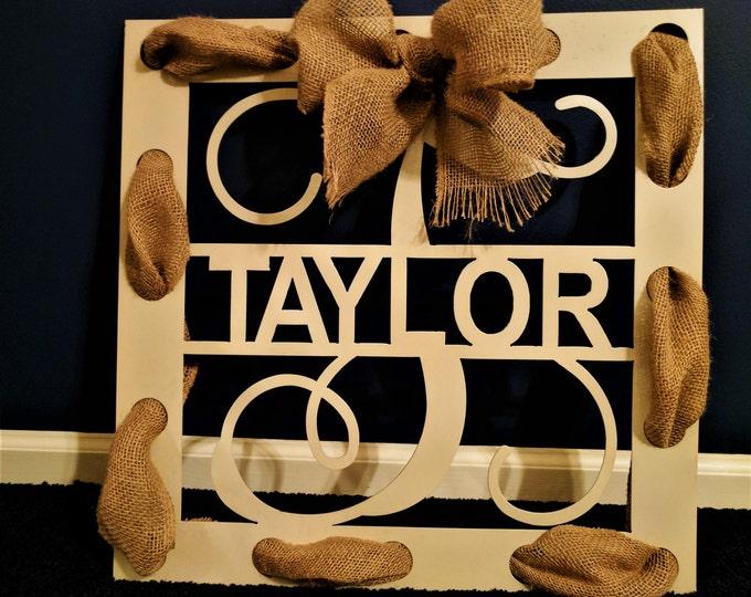 Monogram Door Hanger, Burlap wreath, Burlap Door Wreath, Wall Hanging, Wedding Decor, Metal Sign, Gift for Her, Housewarming gift, Farmhouse