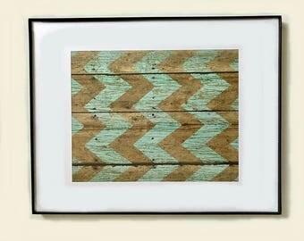"Framed Matted Print - 11"" X 14"" - Green & Brown Chevron Print"