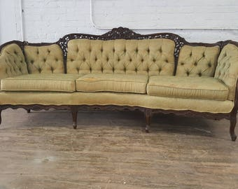 Antique Victorian Carved Wood White Tufted Sofa / Couch - Vintage Velvet Loveseat / Settee - Ready for customization and upholstery fabric