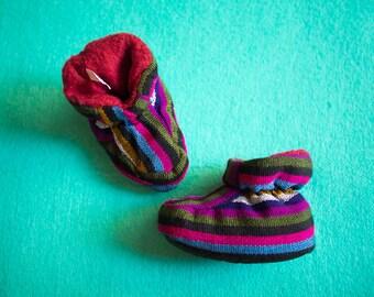 Jewel Stripe Guatemalan Baby Booties