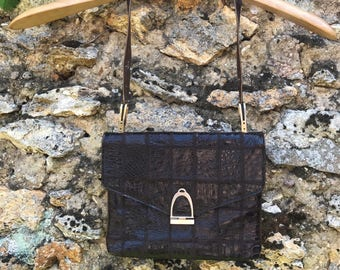 Vimar purse in patchwork of vintage, real crocodile Brown croco, wear french shoulder 1970 retro