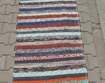 Multi-Colors Stripes Turkish Runner Rug, Kilim Rug Runner, Kitchen Runner Rug, 100% Cotton, 70 x 294 cm/ 2'2 x 9'6
