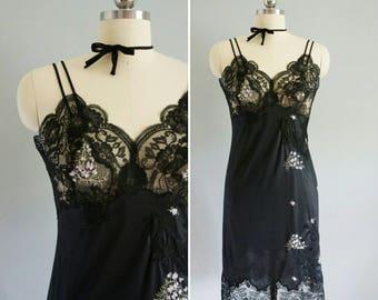 1960s Vassarette embroidered slip | vintage black slip | embroidered slip
