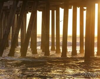 "California Pier Photo | ""Through the Pylons"" | Huntington Beach Wall Art | Beach Photo - Pier Picture - Sunset Print - California Wall Art"
