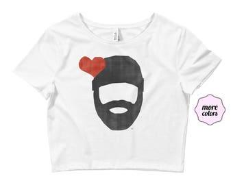 Bearded Lumberjack Love Adult Women's Crop Top T-Shirt | Beard Love Shirt | Bearded Love Crop Top | I Heart Beards Lumberjacks | Beard Life