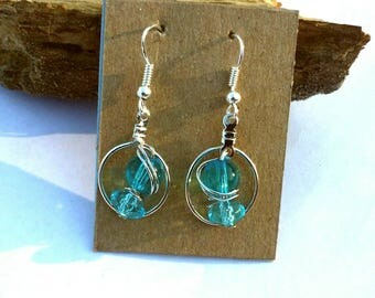 Blue Wire Wrapped Hoop Earrings