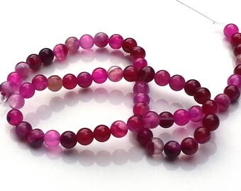 Pink striped agate beads - agate beads - 6, 8mm beads - round beads - gemstone beads