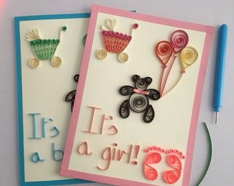 Baby shower greeting card with handmade envelope. It's a boy and it's a girl available. Quilled greeting cards