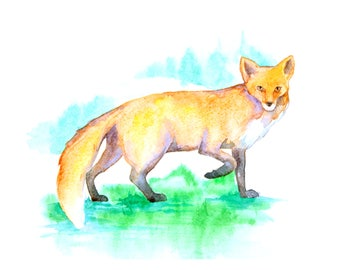 1+1=3! Print Watercolor fox painting, watercolor fox painting, fox, fox painting print, animal watercolor, animal painting, fox art