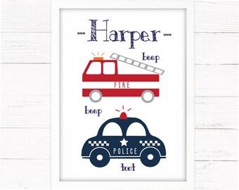 Boys Room Decor Police Cars & Fire Engines Print. Nursery Decor, Toddler Wall Art, Emergency Vehicles, Transport Theme, Nee Nor