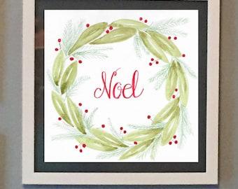 Christmas water color print, digital download, Noel, Holiday print, Christmas Wreath,