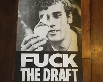 F**K  The Draft Rare Orignal Vintage Political Lithograph Poster 1968 Dirty Linen Corp