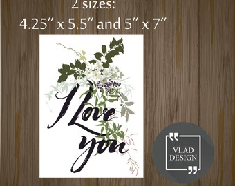 Printable I love you card Gift card Printable cards Instant download DIY Fall in love card