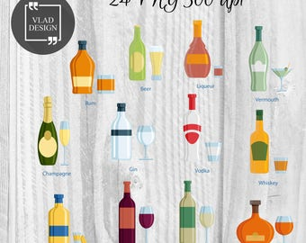 Beverages Clipart Alcohol Clipart Digital beverages Elements Cute bottle graphics Bottle clipart Goblet Clipart Beverages art Drinks clipart