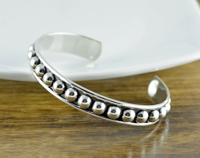 Sterling Silver Beaded Cuff Bracelet, Cuff Bracelet, Boho Jewelry, Boho Bracelet, Gifts or Her, Unique Gifts