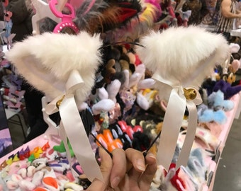 Cat ears Kitty Headwear White Furry Animal Headband Costume Bow Bells