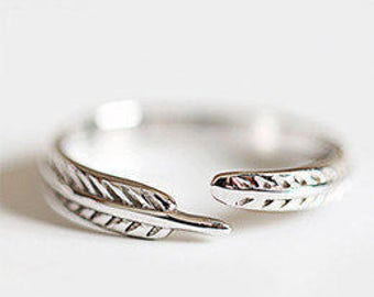 925 Sterling Silver Feather Ring Adjustable