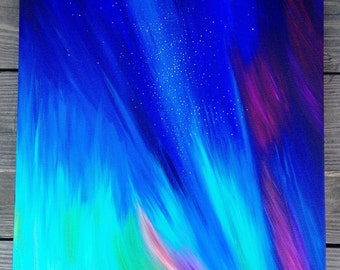 """Original Abstract Contemporary Acrylic Colorful 18"""" x 18"""" Painting of Starry Aurora Lit Sky"""