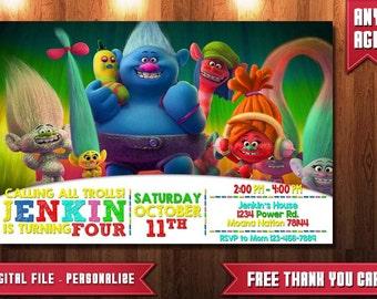 Trolls Invitation Instant Download, Trolls Invitation, Trolls Party, Trolls Birthday Party, Trolls Printables, Trolls Invite,