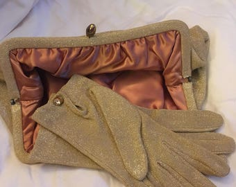 Vintage Gold Clutch with matching Gloves