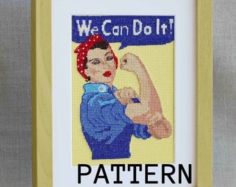 Rosie the Riveter - Cross stitch pattern - We Can Do It!