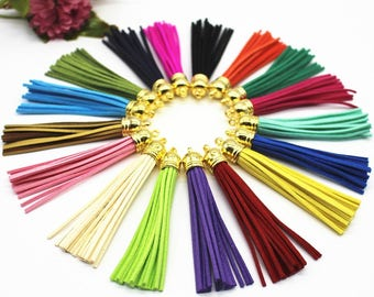 50pieces 90mm Assorted colors suede leather gold plastic ear tassel