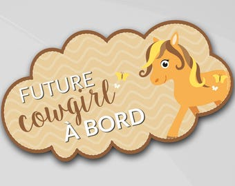 "Sticker for car baby ""Future cowgirl on board"" vinyl for car, original, colorful lettering, horse, pony, western, rodeo"