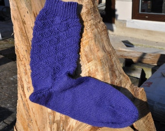 Socks hand knitted size 36/37 purple/blue