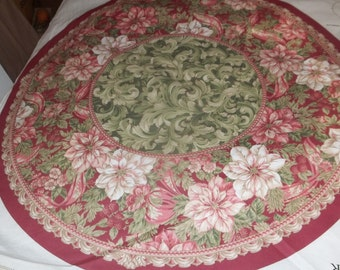 Elegant Traditions Christmas Tree Skirt And Table Top Fabric Panel
