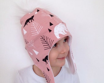 Baby and children's hat / beanie - pompom - fleece lining - fabrics to choose from